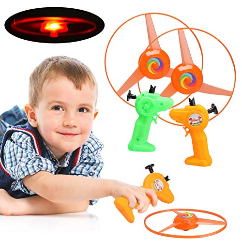 Color Flying Saucer - BeYumi 2 PCS Pull Cord UFO Flying Saucers with LED Colorful Lighting, Hand Controlled Helicopter Flying Disc Toys for Kids (Color May Vary)