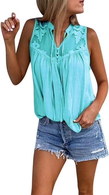 Camiseta de Tirantes Mujer Blusa Sexy Mujer Verano Camisola Tops Camisa sin Mangas con Cuello en V de Encaje de Gasa para Mujer Camiseta Blusa Tops: Amazon.es: Ropa y accesorios