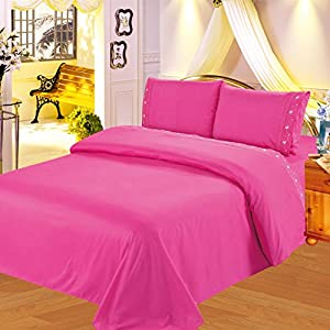 Gorgeous Home 4PC QUEEN HOT PINK BED SET SHEET EMBROIDERED Egyptian  MICROFIBER FLATE, FITTED, PILLOW CASES