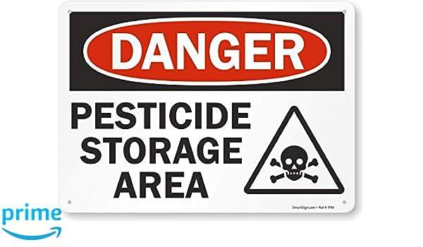 Plastic Sign SmartSign Danger 10 x 14 10 x 14 Lyle Signs S-2859-PL-14 Pesticide Storage Area with Graphic