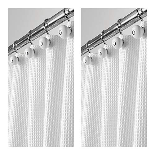 mDesign - 2 Pack - Hotel Quality Polyester/Cotton Blend Fabric Shower Curtain with Waffle Weave and Rustproof Metal Grommets for Bathroom Showers and Bathtubs - 72 x 72 - White