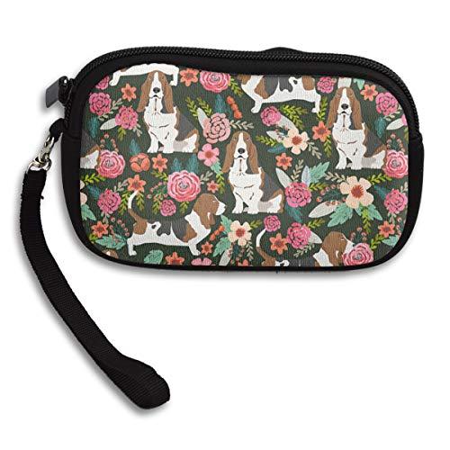 YINLAN Wristlet Bag Clutch Wallet Cosmetic Pouch Coin Change Purse Card Holder with Strap Zipper Handbag for Women Men Basset Hound Dog Floral ()