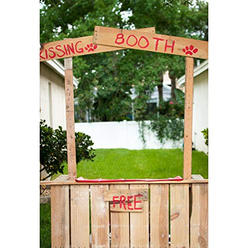 AOFOTO 5x7ft Spring Wood Kissing Booth Backdrop Vinyl Countryside Village Scenery Couples Lovers Photos Background Girls Party Events Travel Wedding Photography Studio -