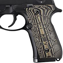 Guuun Beretta 92/96 Full Size G10 Grips, 92 fs, m9, 92a1, 96a1, 92 inox Grips, Perfect in fit and slim down the B92 Grips, Cobweb Punisher Skull Texture, Brand By
