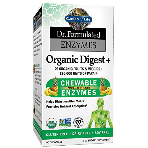 90 Chewable Tablets Bottle - Garden of Life Organic Chewable Enzyme Supplement - Dr. Formulated Enzymes Organic Digest+, 90 Chewable Tablets
