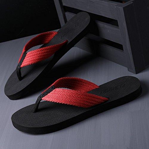 fankou La Palabra Zapatillas Verano Ocio y Moda Antideslizante Fresco y Sandalias Personalizadas Zapatillas de Playa El rojo