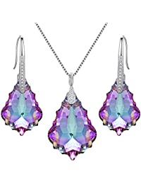 925 Sterling Silver CZ Baroque Drop Pendant Necklace Dangle Earrings Set Made with Swarovski Crystals
