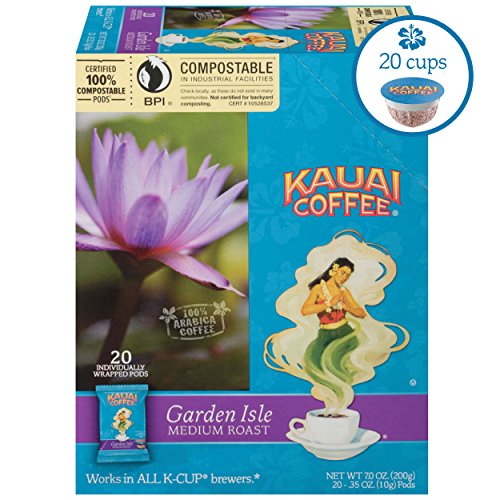 Kauai Coffee Single-serve Pods, Garden Isle Medium Roast - 100% Premium Arabica Coffee from Hawaii's Largest Coffee Grower, Keurig-Compatible Cups - 20 Count