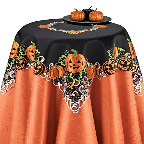 Collections Etc Halloween Pumpkins Table Runner/Topper Linens, Embroidered Festive Party Indoor Decorations, Square]()