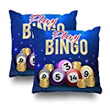 Suesoso Decorative Pillows Case Pack of 2, 18''x18'' Two Sides Printed Soft Cotton Background Of Bingo Balls In Realistic Style Nice Gift Indoor/Outdoor Throw Pillow Cover Decorative Home Decor Gar