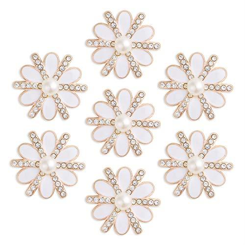 DIY-SHINNY 20 Pieces 20 mm Flatback Pearl Rhinestone DIY Embellishments for Wedding Decoration, Flower Center, Gift Card Decor (Gold) ()