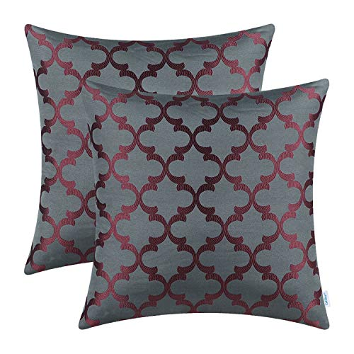 CaliTime Pack of 2 Soft Throw Pillow Covers Cases for Couch Sofa Home Decoration Modern Quatrefoil Trellis Geometric 18 X 18 Inches -
