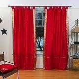 Indian Selections Lined-Fire Brick Tab Top Sheer Sari Curtain/Drape – 80W x 120L – Piece