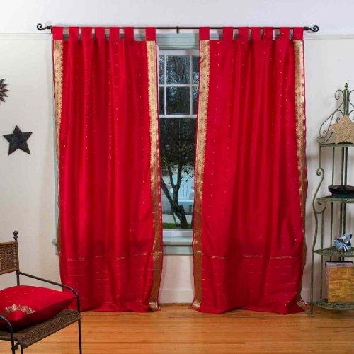 Fire Brick Tab Top Sheer Sari Curtain / Drape / Panel - 43W x 84L - Piece (Sari Panels Drapes Curtains)
