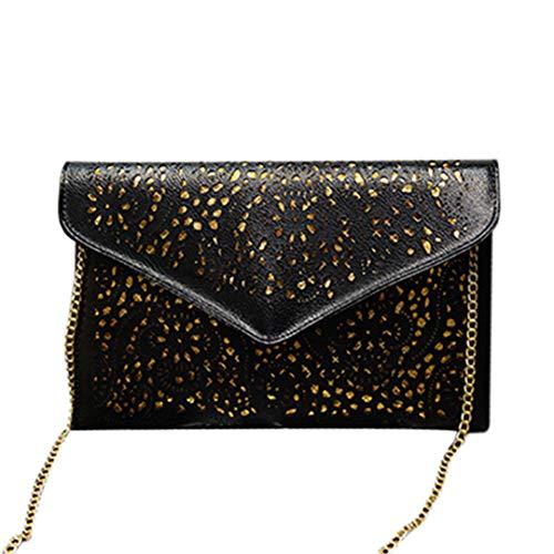 Hollow Out Chain Shoulder Crossbody Day Clutch Women Messenger Bags H bags black 31cm x 20cm x 2cm