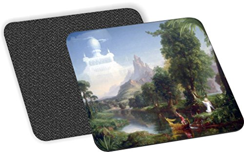 Rikki Knight Thomas Cole Art the Voyage of Life Design-Soft Square Beer Coasters (Set of 2), Multicolor (Cole Wine Coaster)