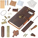 Moterm Refillable Handmade Leather Notebook, 8.6'' x 4.9'' Leather Journal Writing Notebook Travelers Notebook, Writing Diary Notepad (Standard Sizes, Brown, Rich Gifts)