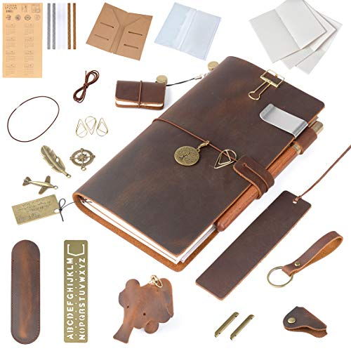 - Moterm Refillable Handmade Leather Notebook, 8.6'' x 4.9'' Leather Journal Writing Notebook Travelers Notebook, Writing Diary Notepad (Standard Sizes, Brown, Rich Gifts)