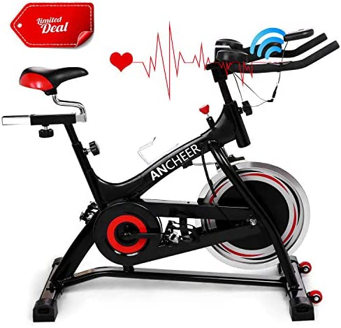 ANCHEER Stationary Bike, 40 lbs Flywheel Indoor Cycling Exercise Bike with Heart Rate, Quiet Smooth Belt Drive System, Adjustable Seat Handlebars Base