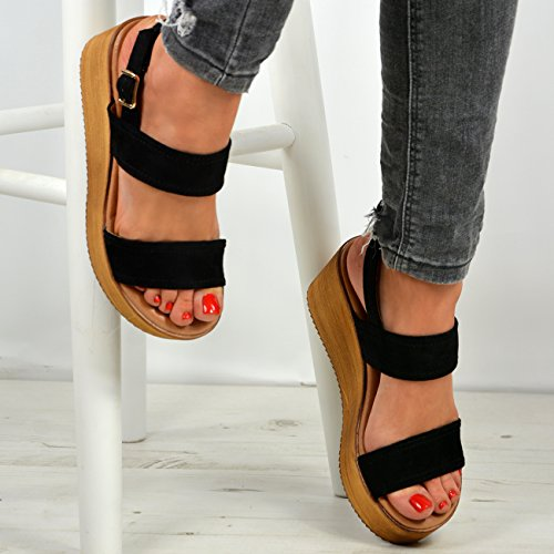 New Womens Ladies Ankle Strap Peep Toe Flatforms Wedge Platform Sandals Shoes Black vBrMclwm6