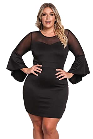 7c545e696fe shelovesclothing Women s Plus Size Mesh Trim Bell Long Sleeved Bodycon  Party Club Mini Dress  Amazon.co.uk  Clothing