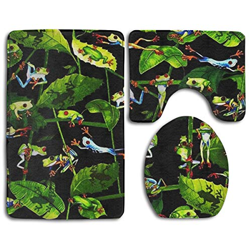 (CCBUTBA Bathroom Rug Mats Set 3 Piece Frog's Daily Life Extra Soft Bath Rugs (20
