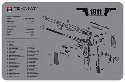 TekMat 1911 Cleaning Mat / 11 x 17 Thick, Durable, Waterproof / Handgun Cleaning Mat with Parts Diagram and Instructions / Armorers Bench Mat / Grey (Gun Mat 1911)