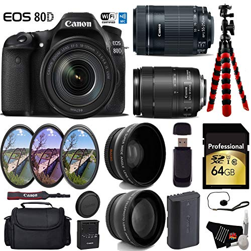 Canon EOS 80D DSLR Camera with 18-135mm is STM Lens & 55-250mm is STM Lens + UV FLD CPL Filter Kit + Wide Angle & Telephoto Lens + Camera Case + Tripod + Card Reader - International Version -  6Ave