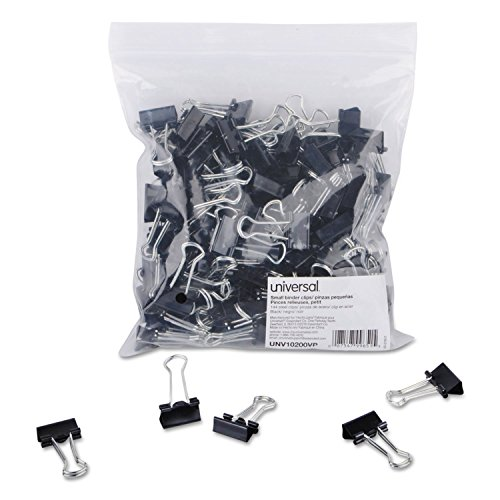 """""""Small Binder Clips, Steel Wire, 3/8"""""""" Capacity, 3/4"""""""" Wide, Black/Silver, 144/Pack"""" from Universal"""