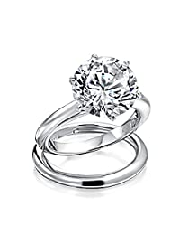 Bling Jewelry Round 3.5ct CZ Solitaire Engagement Wedding Ring Set Silver