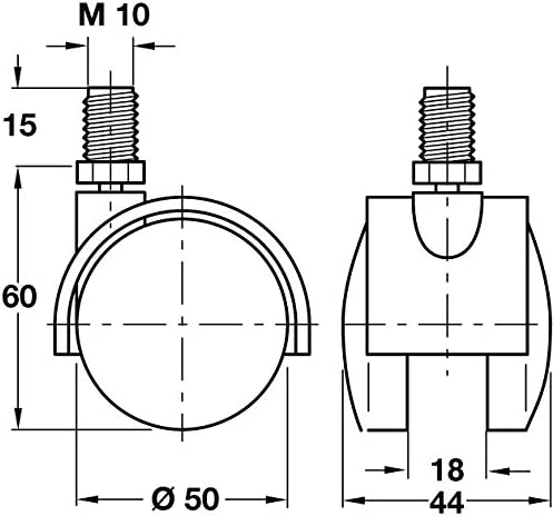 City Deco Centre Twin Wheel Swivel Castor Hooded /Ø 50mm Wheels M10 Thread Fixing Without Brake