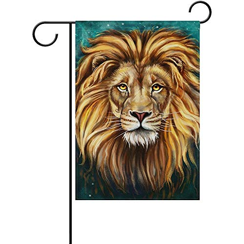 King Lion Aslan Polyester Valentine's Day Garden Flag 12 x 18 Inch Banner Double Sided Printing for Yard -