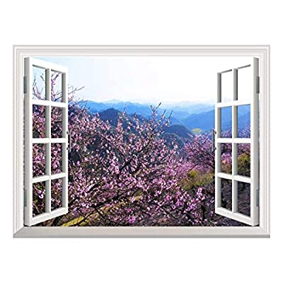 Removable Wall Sticker/Wall Mural - Spring Flowers in The Valley | Creative Window View Home Decor/Wall Decor - 36