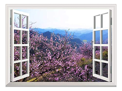 wall26 Removable Wall Sticker/Wall Mural - Spring Flowers in The Valley | Creative Window View Home Decor/Wall Decor - 36