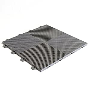 BlockTile B2US4630 Deck and Patio Flooring Interlocking Tiles Perforated Pack,  Gray, 30-Pack