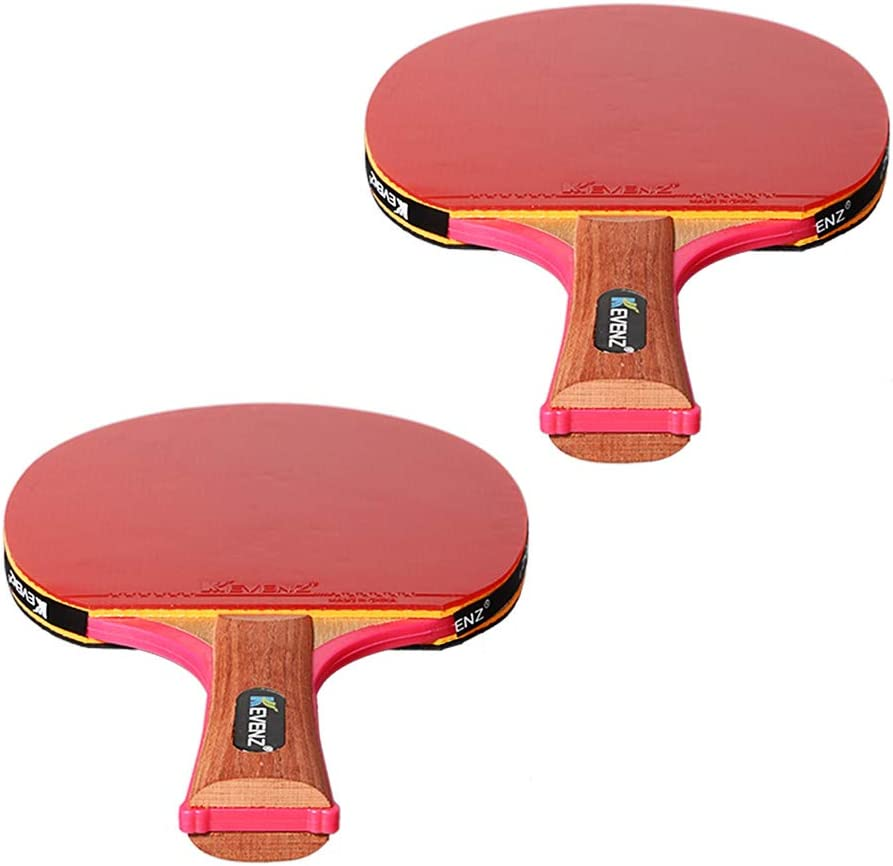 KEVENZ 2-Pack Patent Advanced Table Tennis Racket Come with Anti-Skid Handle, Wooden Blade Surrounded by Rubber (Patent Racket) : Sports & Outdoors