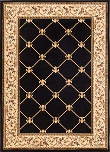 Well Woven Timeless Fleur De Lis Black Formal Area Rug 3'11