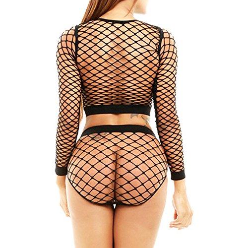 548d1999fc5 TEERFU Women s Fishnet Long Sleeve Cami Crop Top+Brief 2Pcs Lingerie Set  Bodysuit  Amazon.co.uk  Clothing