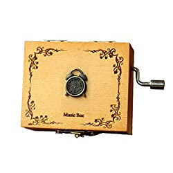 wonderfulwu Wooden Music Box, Retro Wooden Hand Rock Wooden Music Box with Castle in the Sky Perfect Gift for Graduation Birthdays (Alarm Clock)