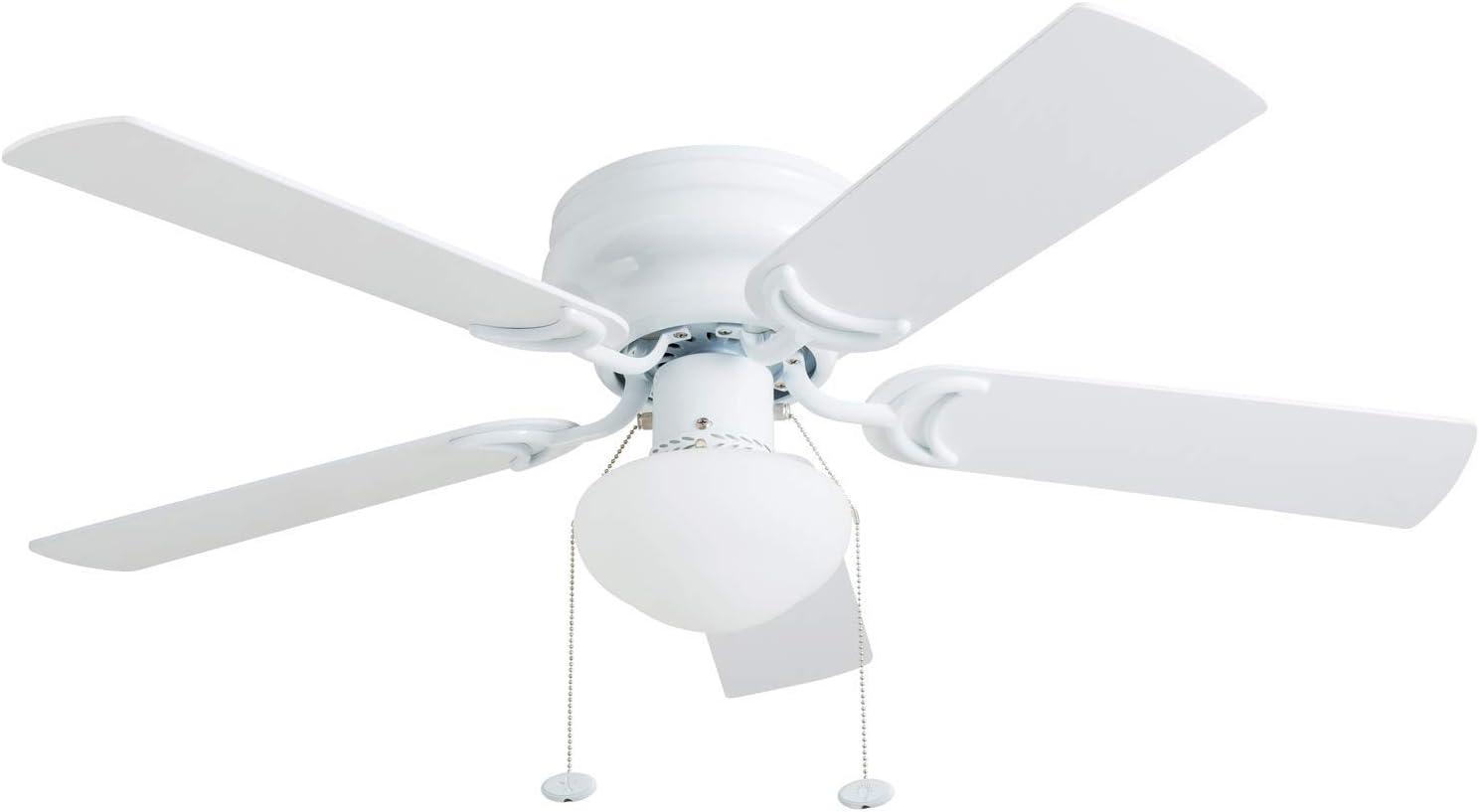 """Prominence Home 80092-01 Alvina Ceiling Fan, Barnwood / White Blades, LED Globe Light Hugger/Low Profile, 42"""", Farmhouse White"""