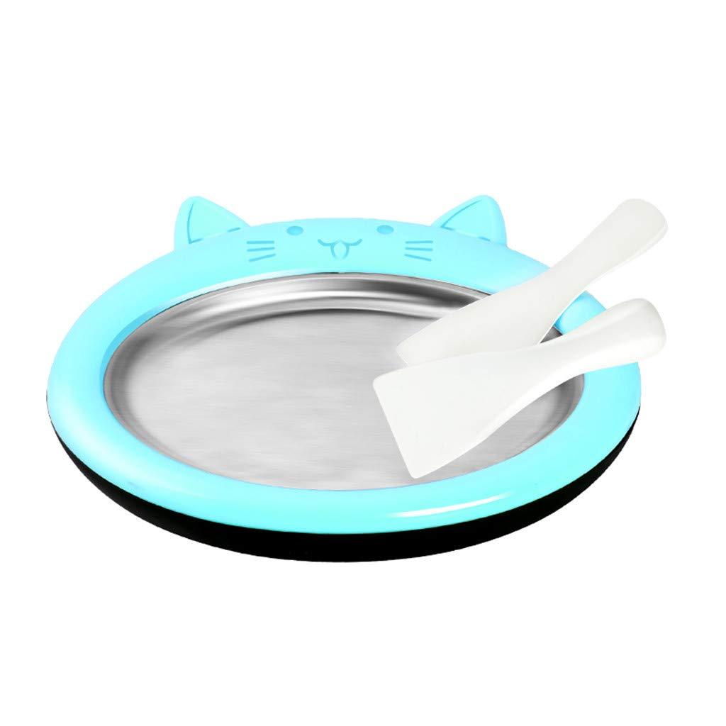 Fried Ice Machine, Mini Ice Cream Maker Fried Ice Machine Tray Home Ice Cream Maker Food Grade Material (Blue)