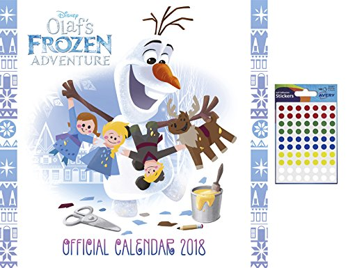 Disney Olaf's Frozen Adventure Official 2018 Calendar and a Sheet of 70 Multi Colour Self Adhesive Dot Stickers