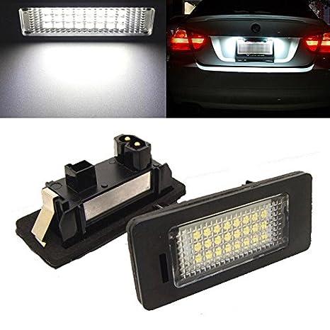 2pcs de coche matrícula 24 LED claro bombilla 3528 sin errores para BMW E39 E61 E90 Serie 5: Amazon.es: Electrónica