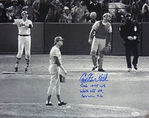 Carlton Fisk Autographed Boston Red Sox Waving 16x20 Photo w/3 inscriptoins & ()