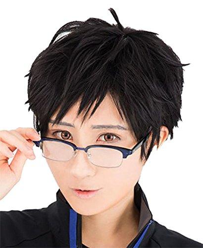 TOKYO-T Yuri on Ice Yuri Katsuki Cosplay Black Short Wig Eyeglass Set - Glasses Black Ice
