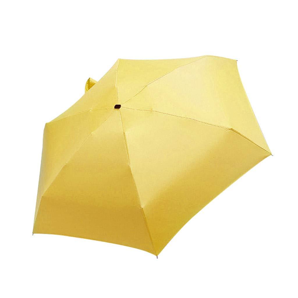 Resistente al Viento Plegable CRITY Paraguas miniparasol port/átil Accesorios de Deporte al Aire Libre Amarillo Adecuado para el Sol y la Lluvia Ligero