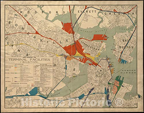 Vintage Map - 1893 Map showing the terminal facilities of Boston - Vintage Wall Art - 44in x ()