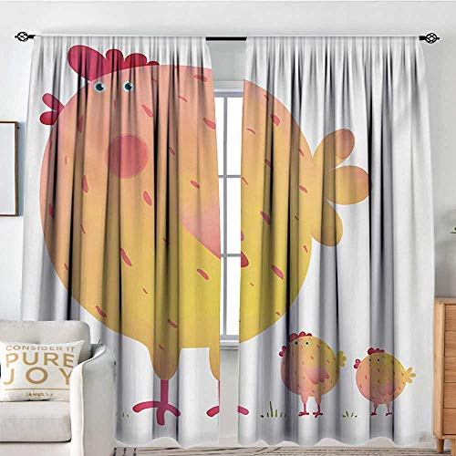 Living Room Curtains Chicken,Mother Hen and Chicks Farm Animals Agriculture Family Theme,Dark Coral Pale Orange Yellow,Darkening and Thermal Insulating Drapes 100