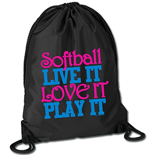 Softball Live It Love It Play It Cinch Sack | Softball Bags by ChalkTalk SPORTS | Black