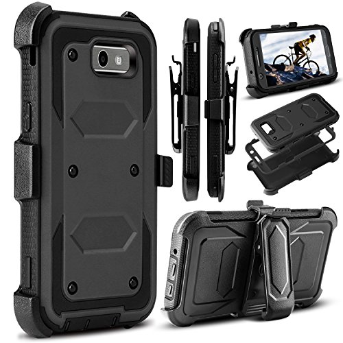 Venoro Compatible Galaxy J3 Emerge Case, J3 2017 Case, Amp Prime 2 Case, Shockproof Full Body Protection Case Cover with Swivel Belt Clip and Kickstand Compatible with Samsung J3 Prime (Black)